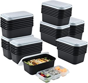 50 Pack 3 Compartment Meal Prep Containers 44oz/1300ml,Tray In Disposable Food Container, Reusable Food Storage Togo Takeaway Food Box with Lids, Bento Lunch Box, Microwavable,Freezer Safe, Disposable