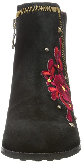 Desigual Shoes_Country Red Flower, Botas Chelsea para Mujer, Negro, 39 EU