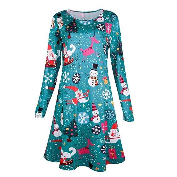 YWLINK Damen Weihnachten Mini Dress Casual Weihnachten Kleid Damen ...