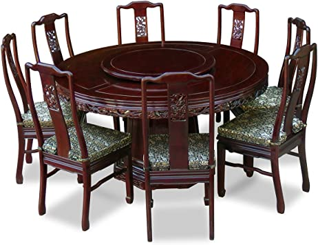 Amazon Com Chinafurnitureonline Rosewood Asian Dining Table 8 Chairs 60 Inch Round Dragon Dark Cherry Table Chair Sets