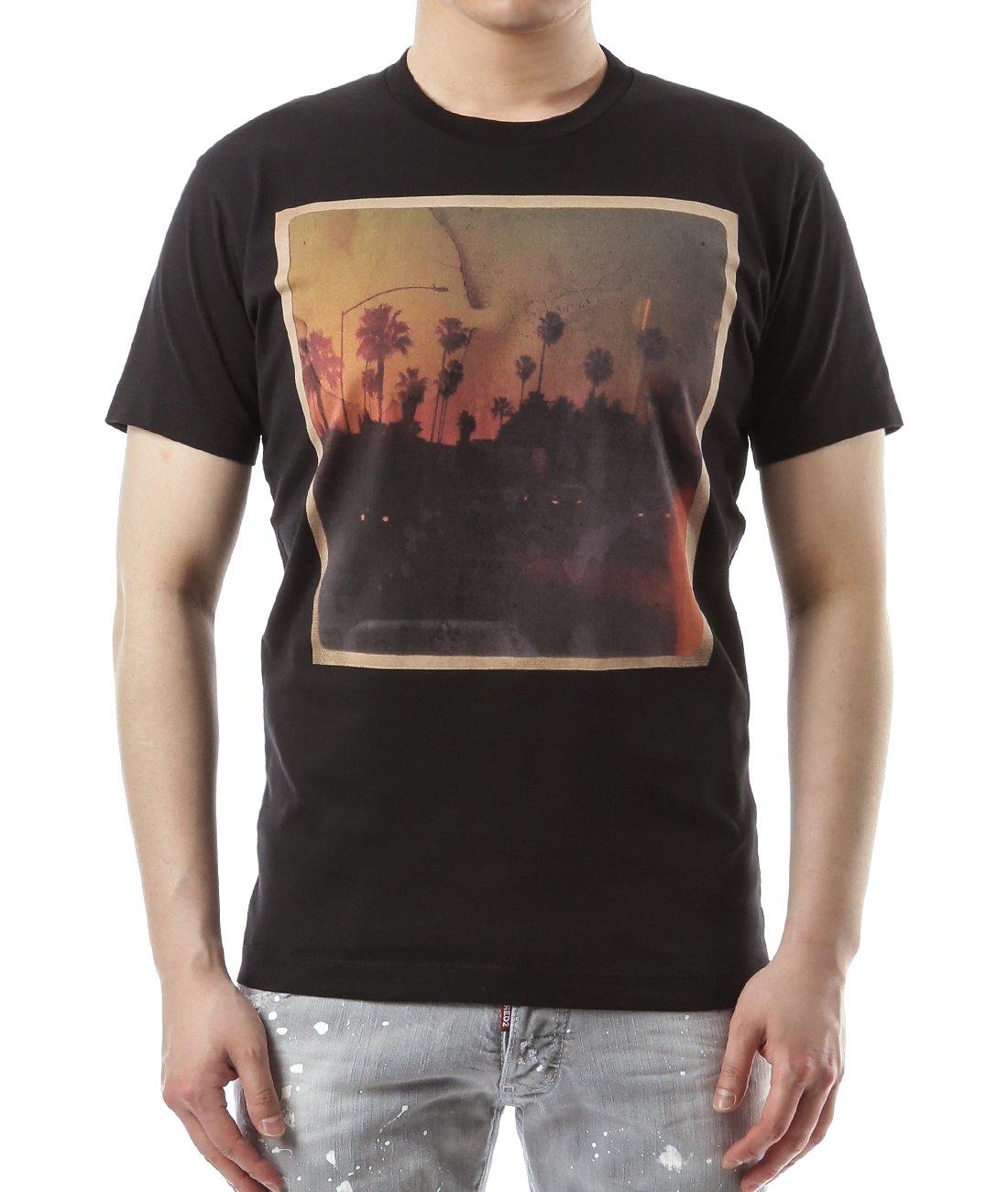 Wiberlux Dsquared2 Men's Vintage Summer Sunset Print T-Shirt S Black