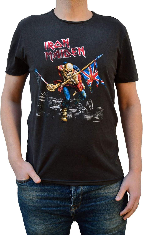 T-Shirt Amplified Clothing Iron Maiden Eddies Logo Charbon