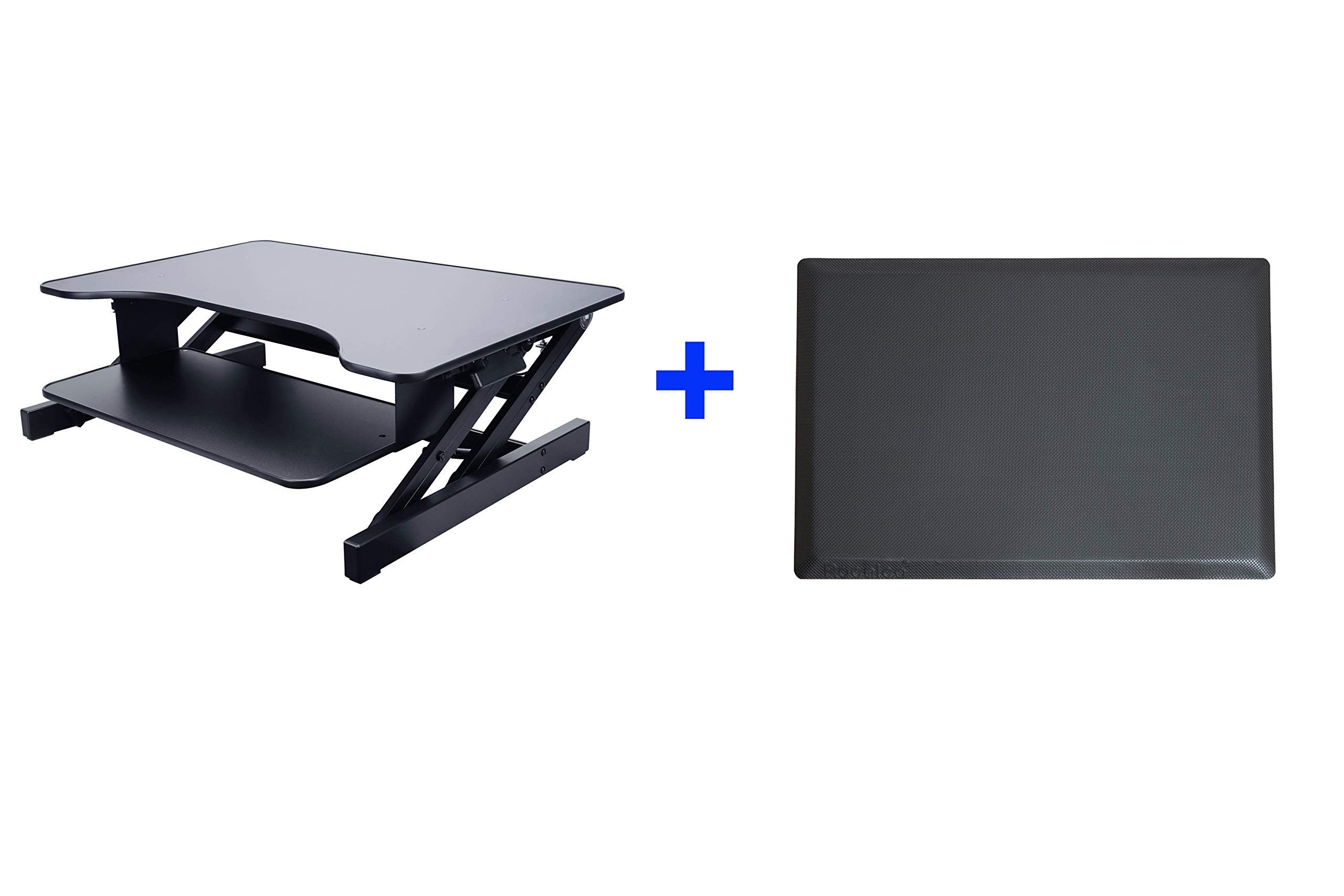 Rocelco 32'' Height Adjustable Standing Desk Converter Riser BUNDLE | Sit Stand Up Computer Workstation | Dual Monitor Retractable Keyboard Tray Gas Spring | Black with Anti Fatigue Mat (R ADRB-MAFM) by Rocelco