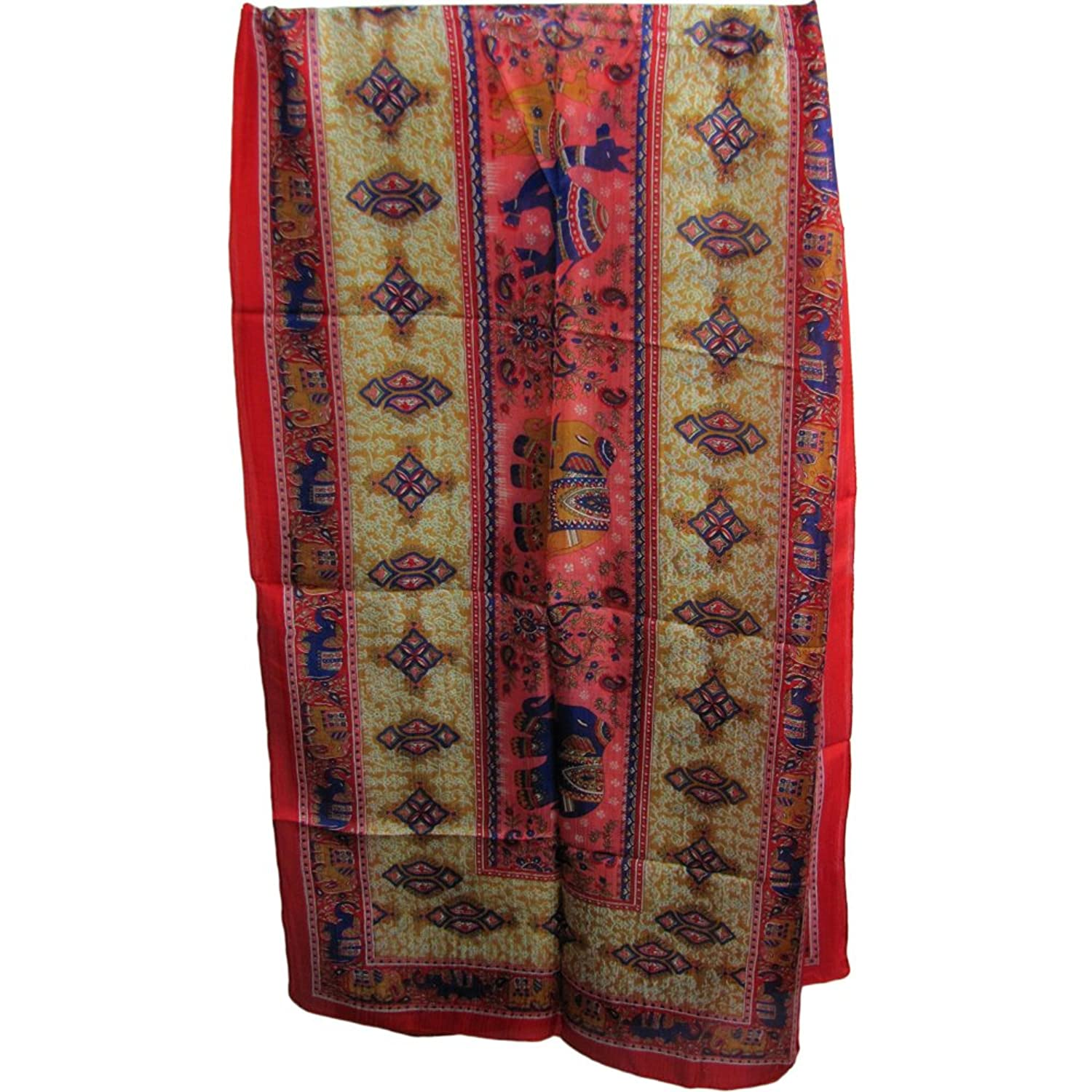 Pure Silk Indian Ethnic Paisley Elephant Camel Pink/Red Scarf Shawl Muffler