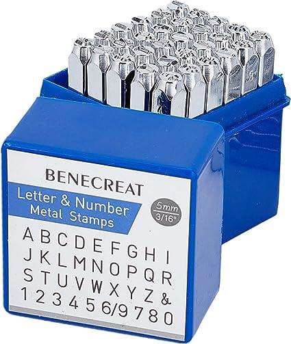 36pcs timbres lettres alphabet//chiffres Set Punch Acier Boîtier Métallique Craft 4 mm