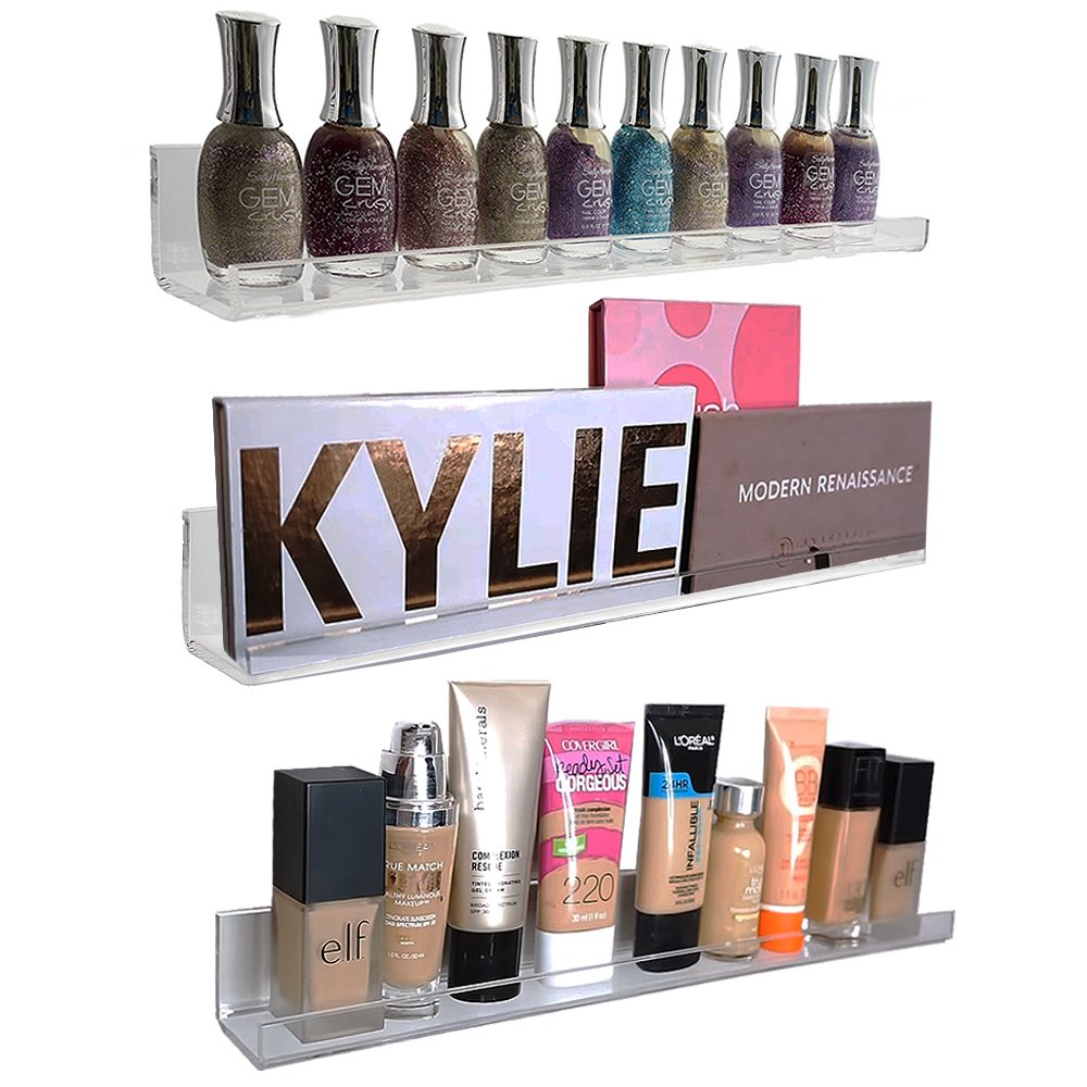 Acrylic Wall Mount Cosmetics Organizer: Makeup Palette Holder & Nail Polish Rack. Strong, Multi-Purpose, Space-Saving 3 Shelf Set. (15 inch x 1.5 inch) Premium Quality Acrylic Shelves (3) by Pretty Display