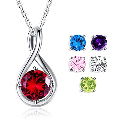 Amazon foruiston 925 sterling silver interchangeable cubic foruiston 925 sterling silver interchangeable cubic zirconia gemstone infinity pendant necklace for women 18 aloadofball Choice Image