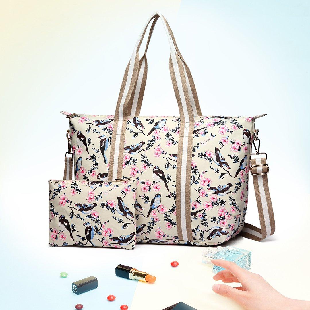 3030abb739837 Miss Lulu 2 Pieces Set Women Bird Flower Matte Oilcloth Foldaway Overnight  Bag Large Light Weight Shoulder Handbag (6641-16J Beige): Amazon.co.uk: Baby