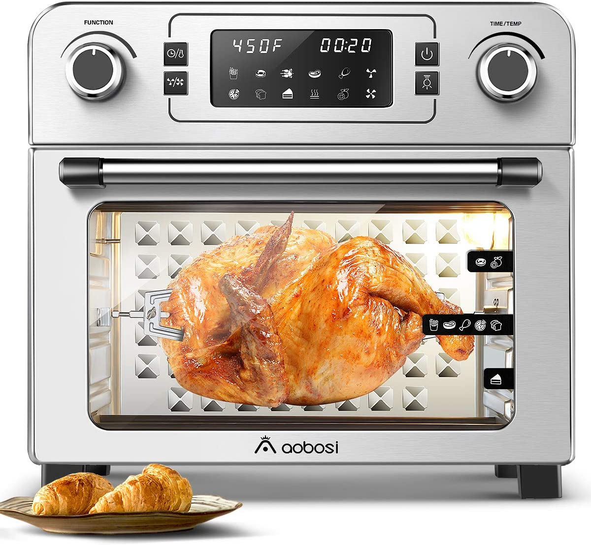 Aobosi Toaster Oven Air Fryer Oven Toaster Convection Oven Digital Countertop Rotisserie Oven Pizza Oven 10-in-1 Multi-Function Toast/Roast/Broil/Bake/Dehydrate|Large 24Qt|Recipe|1700W