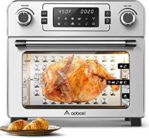 Toaster Oven Aobosi Electric Air Fryer Oven Toaster Air Fry Convection Oven Digital Countertop Rotisserie Oven Multi-Function 10-in-1 Toast/Bake/Broil/Roast/Dehydrate|24Qt Large|Recipe|1700W