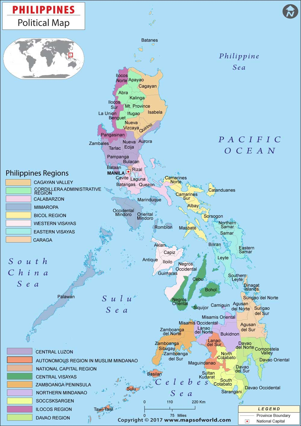 Amazon Com Philippines Political Map 36 W X 50 92 H Office