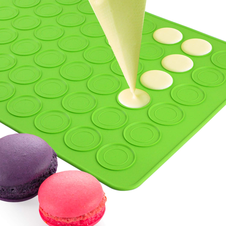 Belmalia Molde para Macarons de Silicona para 24 Macarons Perfectos 48 Huecos Capa Antiadherente 38x28cm Az/úl