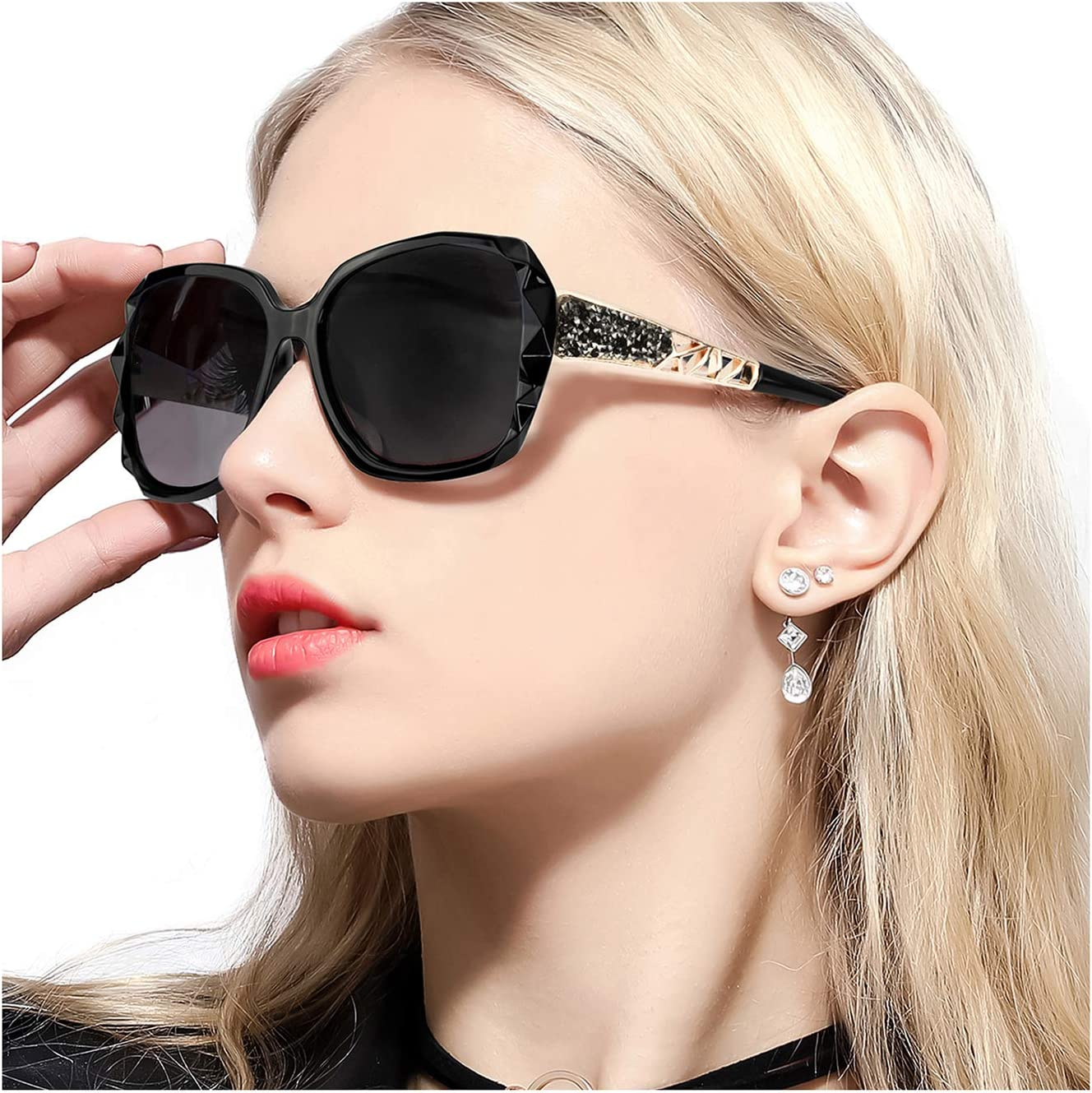 Black Sunglasses FIMILU Women Classic Oversized Polarized Sunglasses Elegant Fashion Rhinestone Design for Driving Shopping Travelling