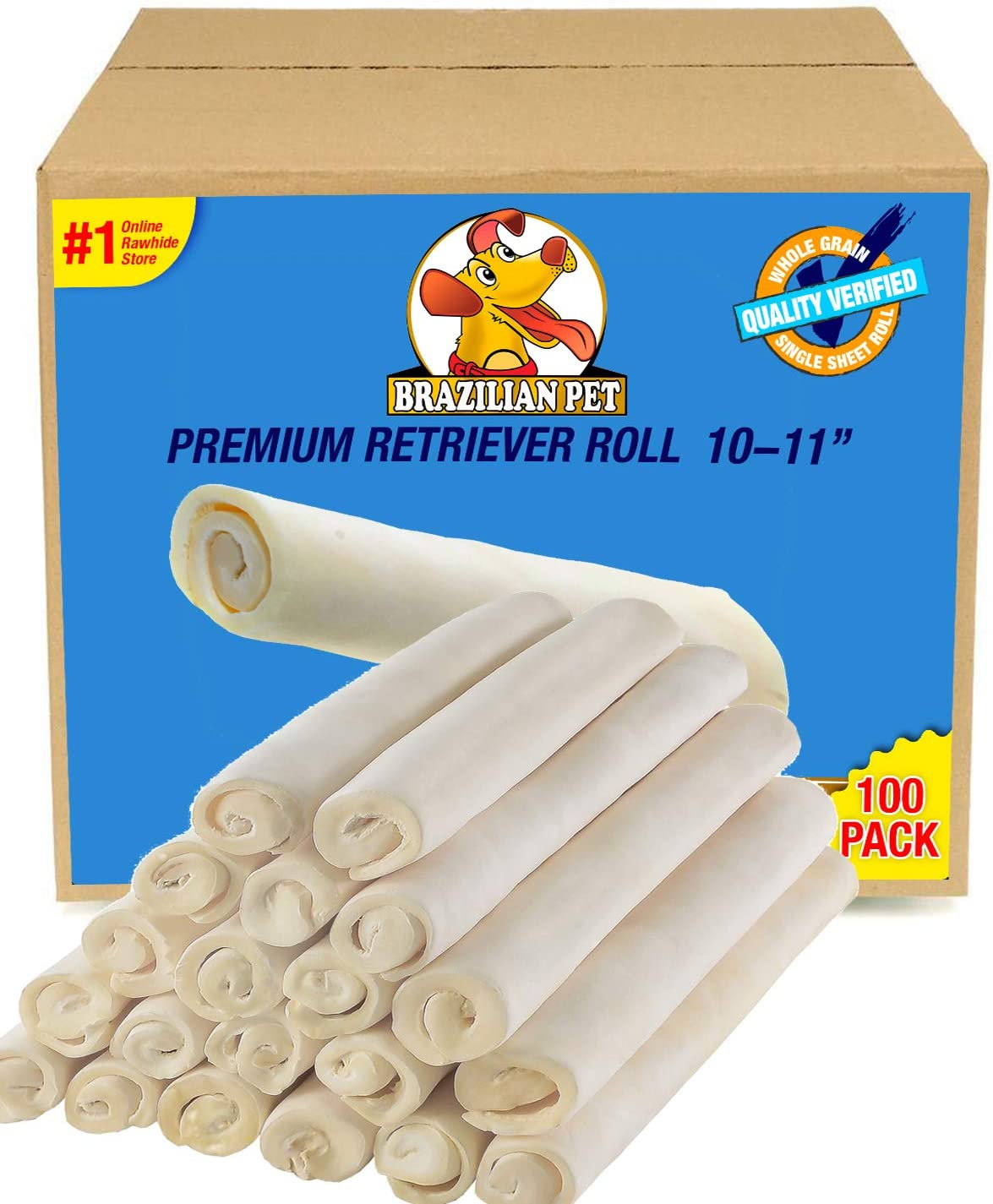 Brazilian Pet Premium Retriever Rolls 10-11 Inches, 100 Pack lLong Lasting. The Best Behavioral Dog Chewing Solution Treat. No Artificial preservatives. 100 Pack