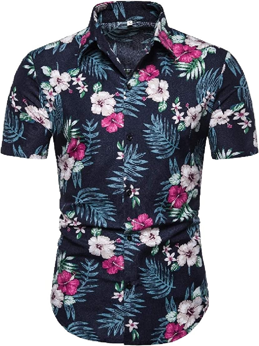 GRMO Men Short Sleeve Casual Button Down Shirt /& Shorts Set with Floral Print