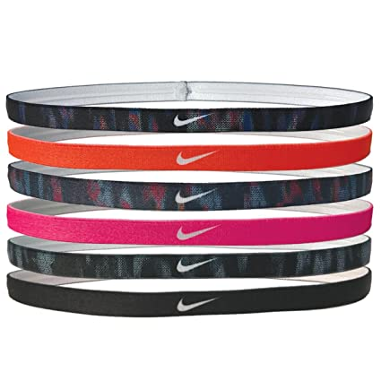 771a76d52 Nike Printed Headbands Assorted 6pk Black/Hyper Crimson/Binary Blue/Racer  Pink