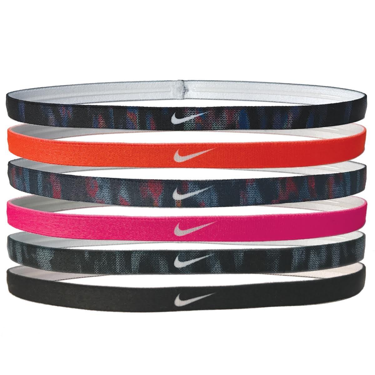 Nike Printed Headbands Assorted 6pk Black/Hyper Crimson/Binary Blue/Racer Pink