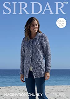 12219223e Sirdar 8056 Knitting Pattern Womens Cable Cardigan in Sirdar Imagination  Chunky