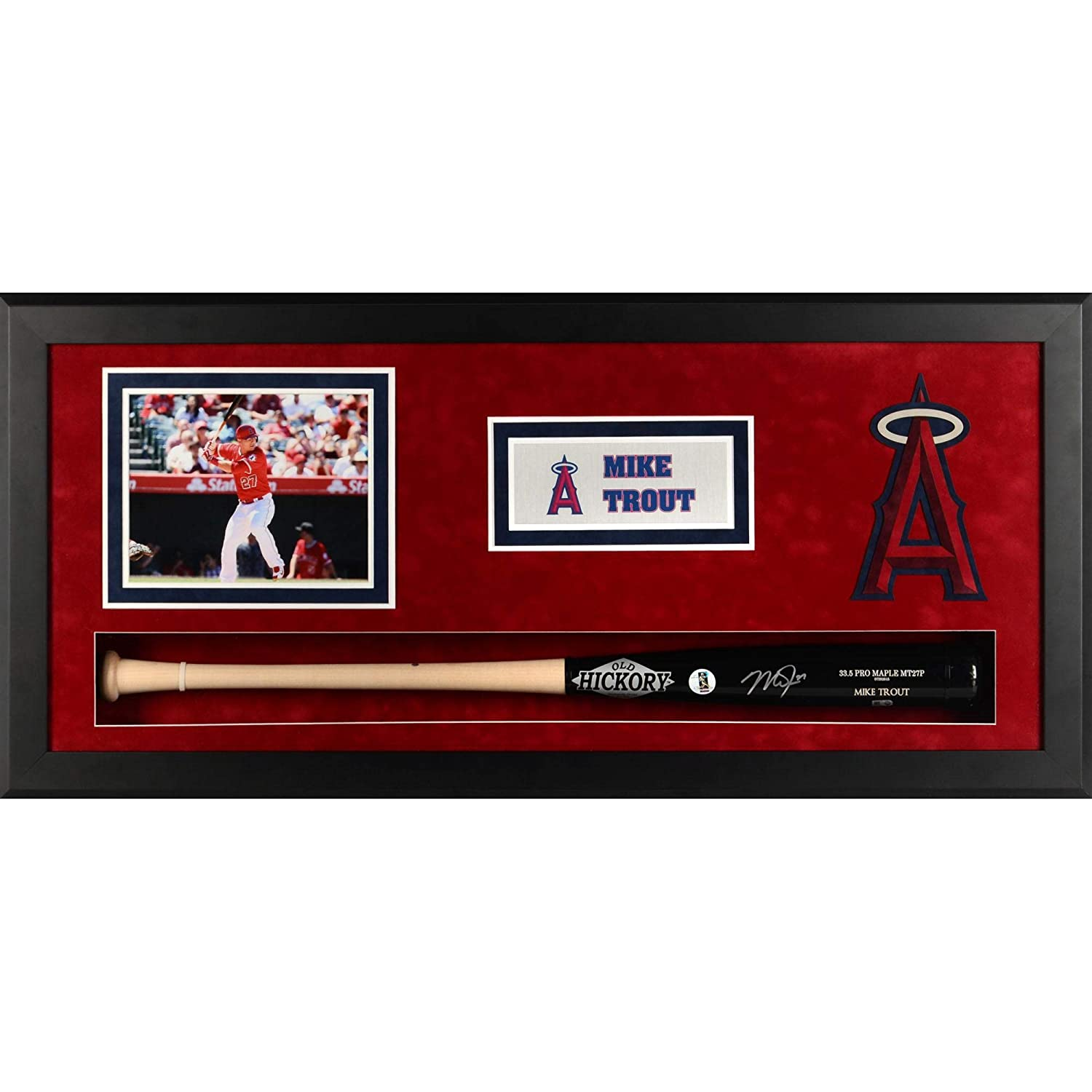 Fanatics Authentic Certified Mike Trout Los Angeles Angels Framed Autographed Old Hickory Game Model Bat Shadowbox