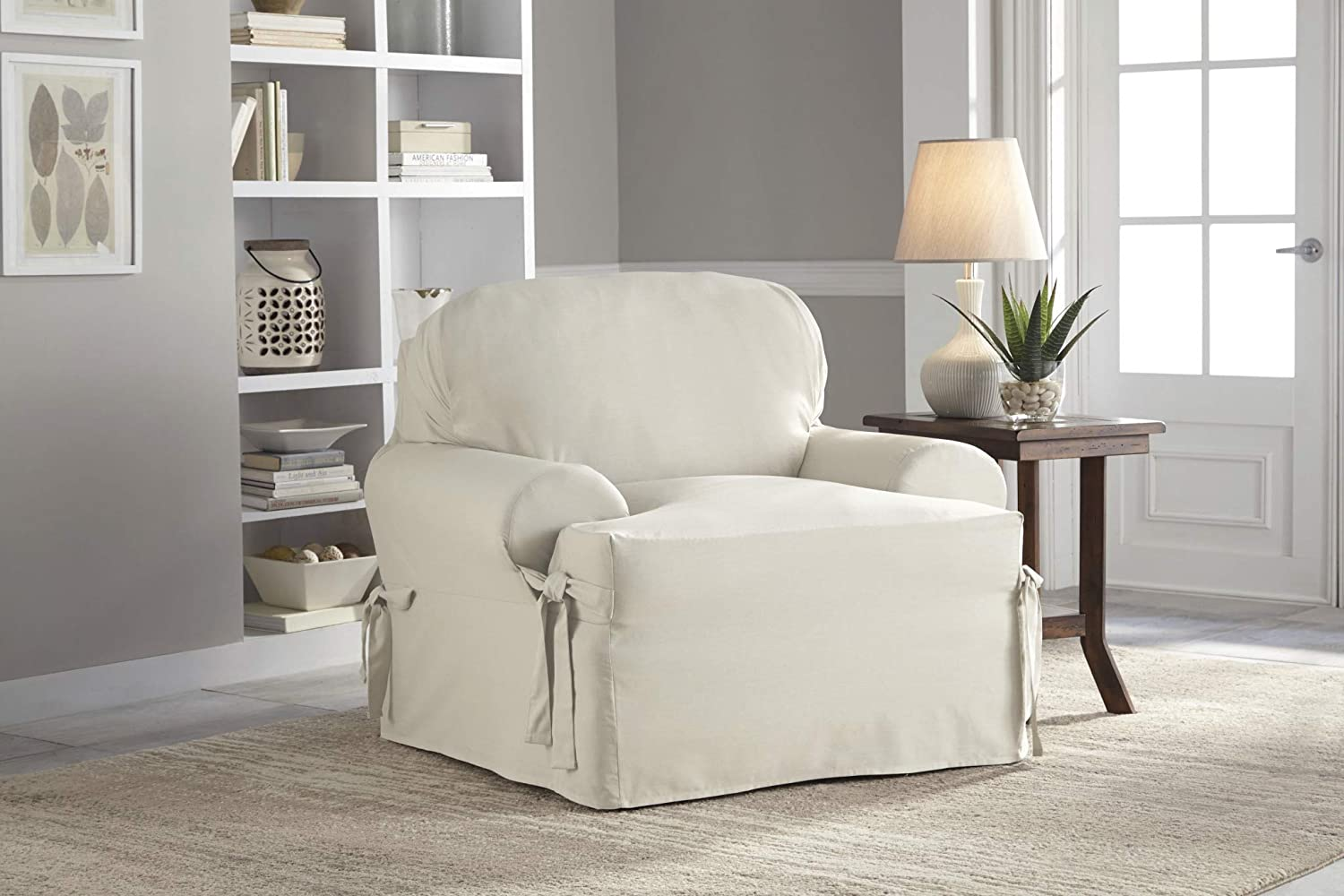 "Serta | Relaxed Cotton Duck Slipcover Collection, Fits Most T-Cushion Measuring, 32"" to 42"", White,T-Chair"