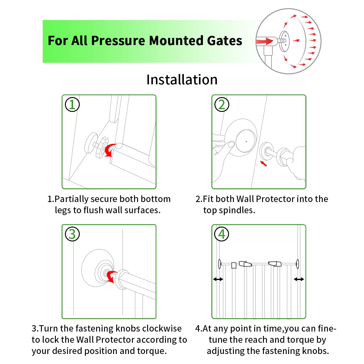 LATME Baby Gate Wall Protector Make Pressure Mounted Safety Indoor Gates More Stable-Wall Damage-Free Fit for Bottom of Gates Doorway Stairs Baseboard Work with Dog Pet Child Gates (White, Round) by LATME (Image #3)