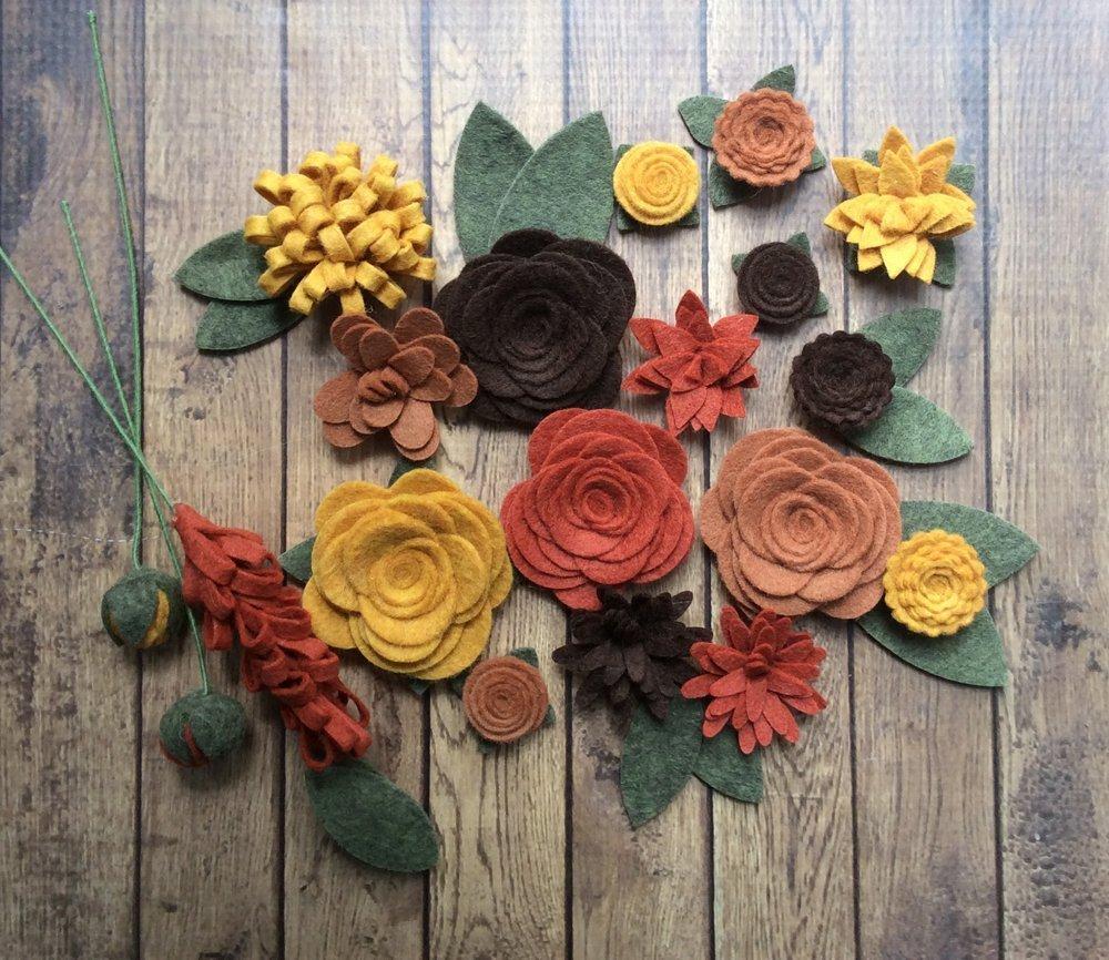 silk flower arrangements wool felt fabric flowers - autumn flower embellishment - large posies - 20 flowers & 18 leaves - create your own headbands, wreaths