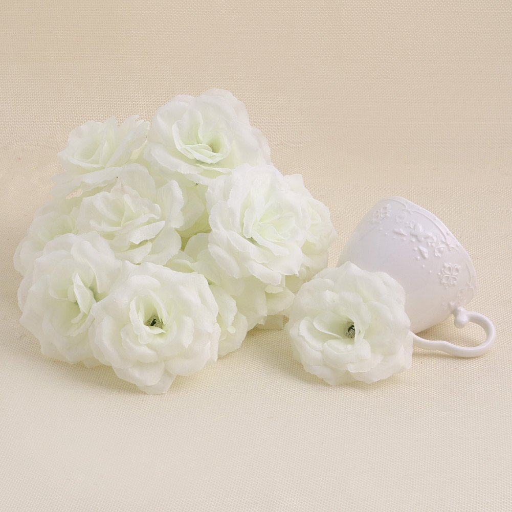 MEXUD-20PCS Rose Head Artificial Silk Flower Heads Wedding Party Decoration (White)