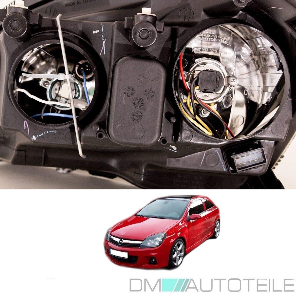 DM Autoteile Astra H Scheinwerfer Set Schwarz RECHTS LINKS 04-09 H7//H1 MOTOR *PREMIUM*