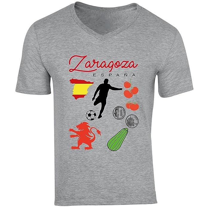 teesquare1st ZARAGOZA SPAIN Camiseta Gris para hombre de algodon: Amazon.es: Ropa y accesorios