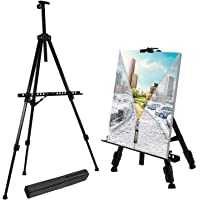 """Stathm 66"""" Reinforced Artist Easel Stand, Extra Thick Aluminum Metal Tripod Display Easel 21"""" to 66"""" Adjustable Height with Portable Bag for Floor/Table-Top Drawing and Displaying"""