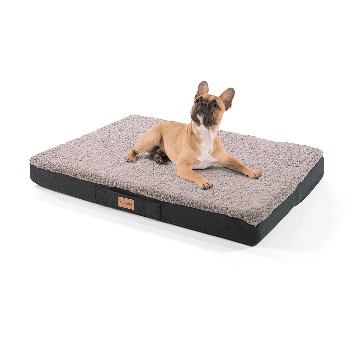 size XL washable and non-slip dog bed with cuddly plush brunolie Balu small dog mat in dark-grey orthopaedic