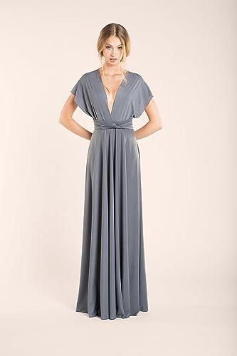 Amazon.com: Silver grey infinity dress, neutral grey dress, long grey dress, silver grey bridesmaid dress, grey maxi dress, long gray dress, ...