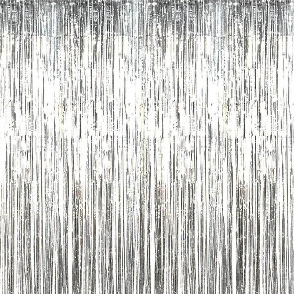 Xplanet 2PCS 3ft x 8ft Metallic Tinsel Foil Fringe Curtains, Shiny Fringe Party Photo Booth Backdrop Door & Window Curtains Party Birthday Wedding Halloween Christmas Decor