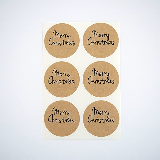 30pcs//set Rounds Merry Christmas kraft paper packaging labels Adhesive Stickers