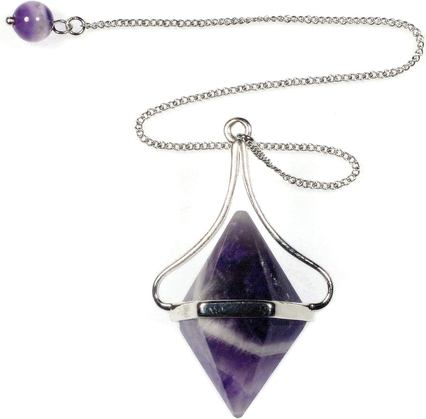 Gemstone Jewellery Chakra Pendant Necklace Crystal Point Healing Necklace Amethyst Pendulum Chevron Amethyst Necklace