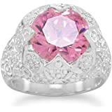 Silver plated Silver Plated Pink CZ Fashion Ring with Swirl Design Band