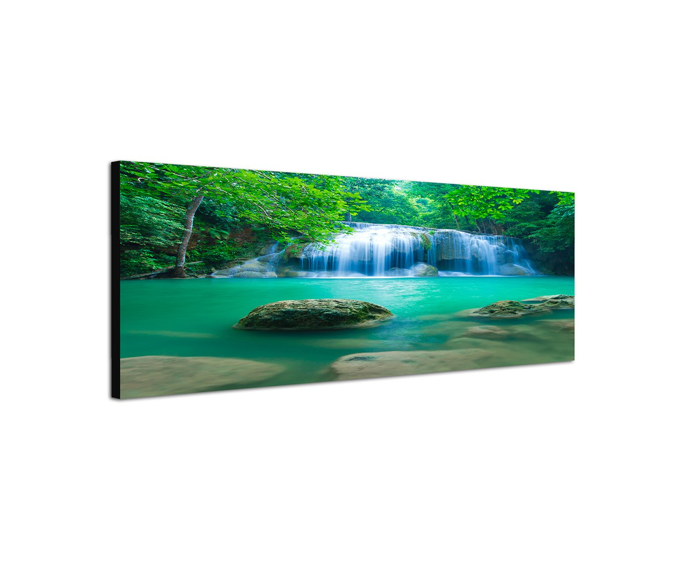 Canvas Wall Art Panoramic 40 cm Canvas Print in Thailand National Park Waterfall In The Jungle. Pure Nature In Great Colors, not a poster. Best for Home