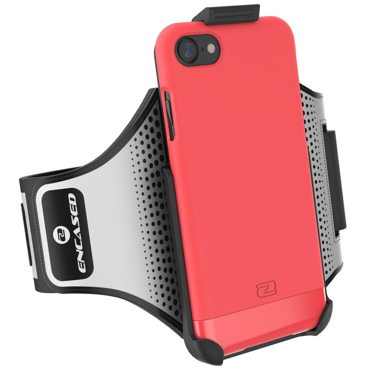 Encased Slimshield iPhone 7 Armband & Sport Case (2 pc Set) Includes Click-N-Go Running Arm Band w/Hybrid Cover (Rose Gold) S-TREK-I7GLD