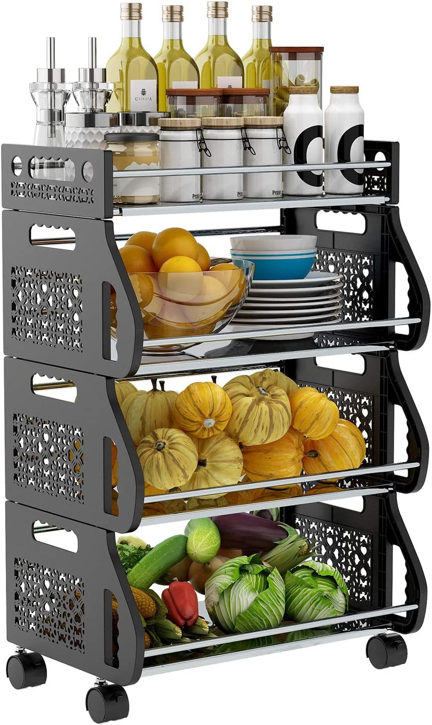 Fruit Storage Basket,DUSASA 4 Tier Rolling Stackable Vegetable Fruit Basket Utility Cart Rack,Metal Storage Organizer Bin for Kitchen, Pantry Closet, Bedroom, Bathroom,Garage (Black)