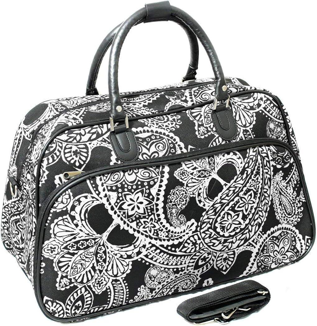 1pc Black Bandana Carry Duffle Bag Polyester White Paisley Duffel Travel,