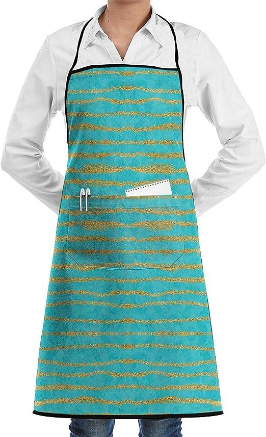 Thin Gold Glitter Stripes + Turquesa Ajustable Delantal de chef de ...