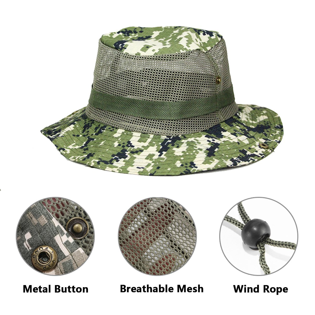 Amazon.com  Netursho Outdoor Sun Hat Camouflage Boonie Hat Hunting Hats  Military Operator Bucket Hat Fishing Cap for Men Women  Clothing 2cd9310813c