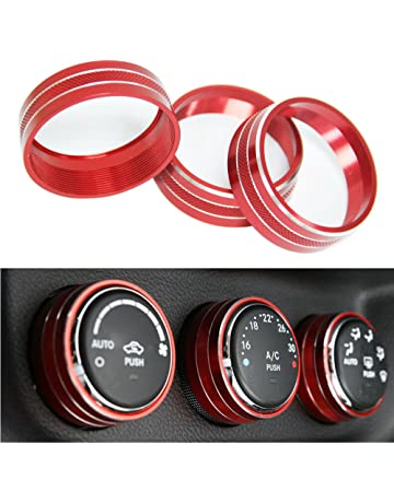 3pcs Interior Audio Air Conditoning Button Cover Decoration Twist Switch Ring Trim For Jeep Wrangler JK