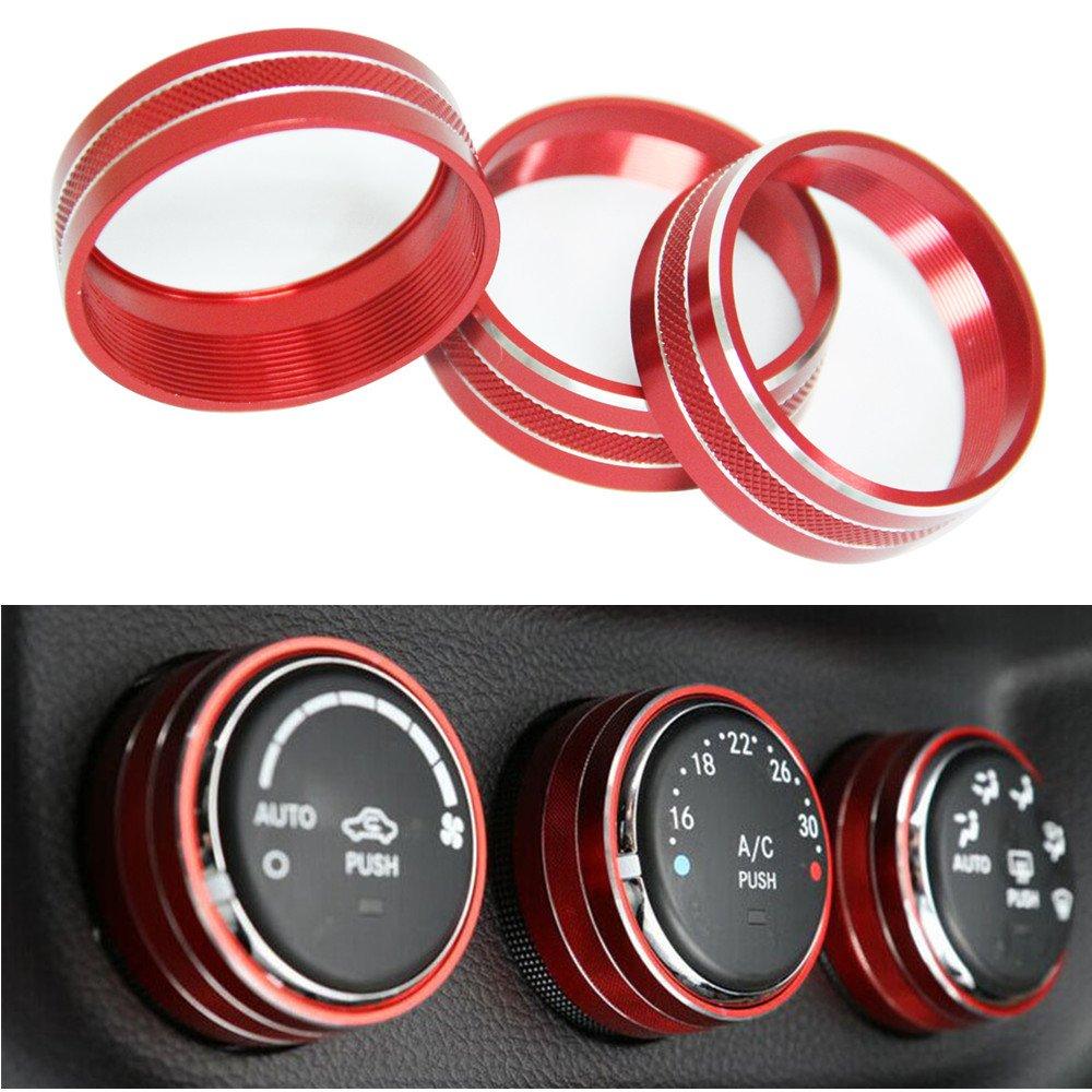 3pcs Audio Air Conditioning Button Cover Decoration Twist Switch Ring Trim for Jeep Wrangler JK JKU Compass Patriot 2011-2018 (Purple) AM-World