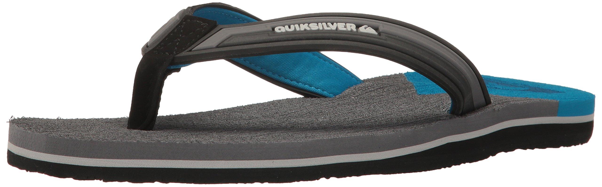 Quiksilver Men's Molokai New Wave Deluxe Flip-Flop Sandal, Black/Grey/Blue, 8(41) D US