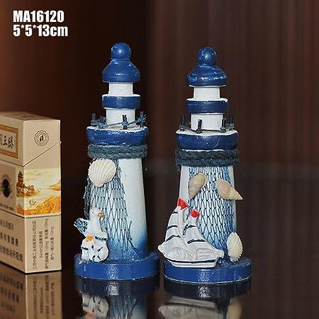 SUPVOX Fairy Garden Miniature Micro Landscape Lighthouse Miniature Lighthouse Ornament for Home Arts Crafts Decoration Random Style 5X5X13CM