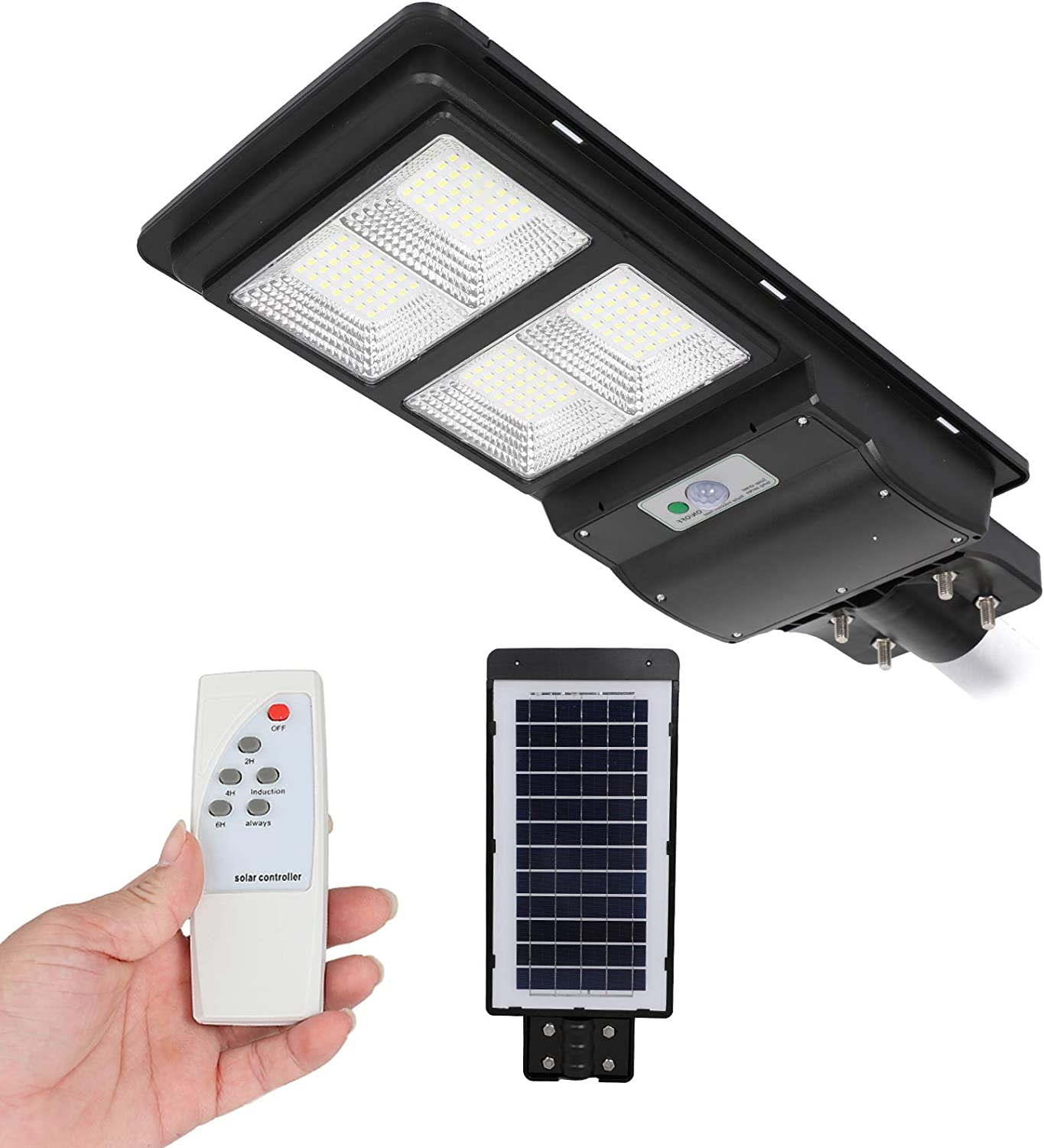 Street Light Solar Panel Street Light with Motion Sensor Outdoor Dusk to Dawn LED Solar Powered Lamp Security with Remote Control Waterproof Radar Sensor for Yard Road Garden Park 60W