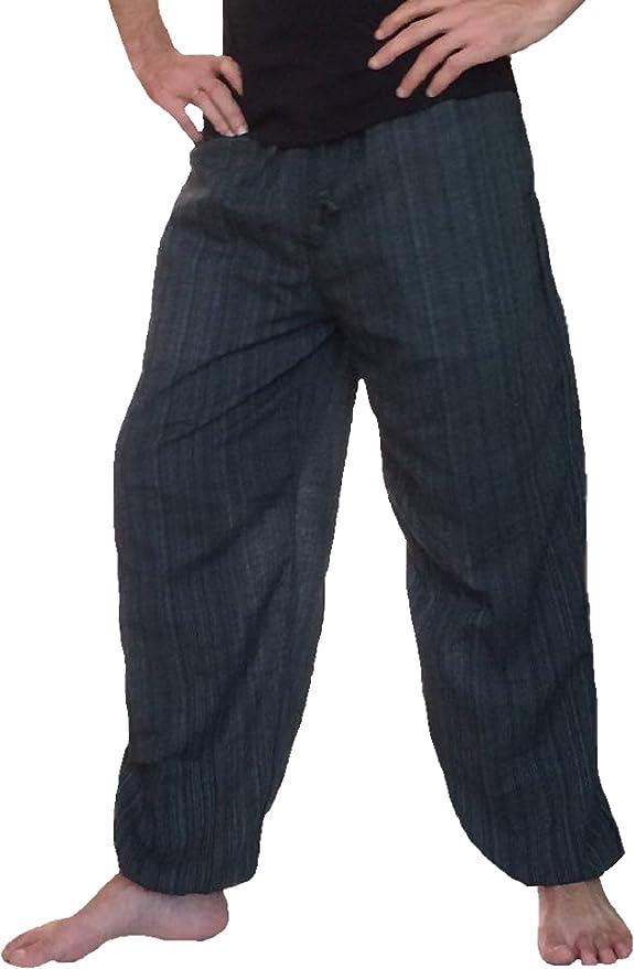 Gergeos Mens Harem Pants Retro Gypsy Pants Casual Cotton Linen Sport Baggy Trousers