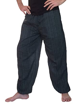 6e14eed65f7 Love Quality Baggy Pants Men s One Size Cotton Harem Pants Hippie Boho  Trousers (Black)