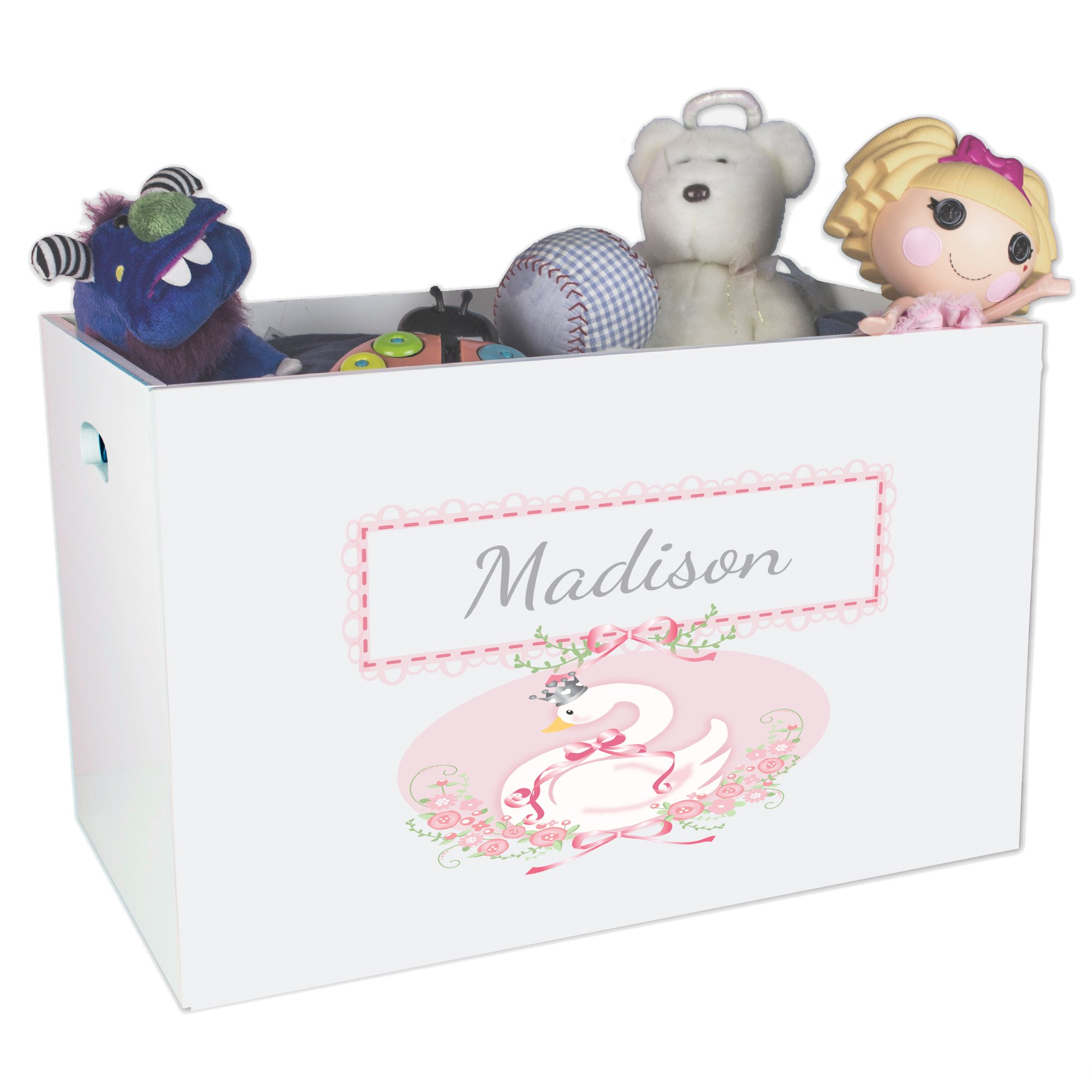 Personalized Rubber ducky Childrens Nursery White Open Toy Box